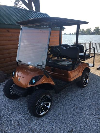 2012 Yamaha Copper Colored Gas Golf Cart w/ Back Bench for 2 More, Runs Gre