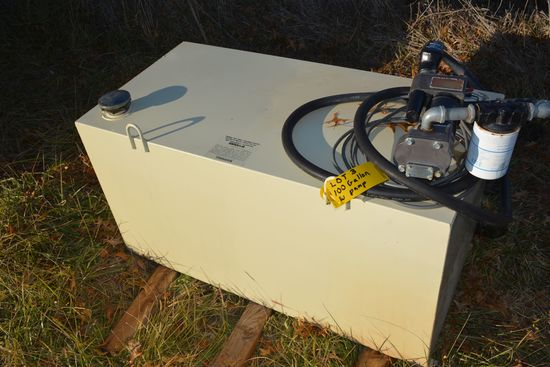 100 Gallon Fuel Tank, 12V Pump