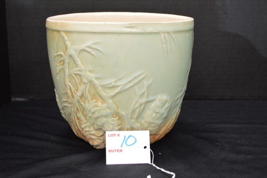 """McCoy 6 1/2 x 7 in. Round Planter, """"Branches and Pine Cone"""", Semi-Gloss"""