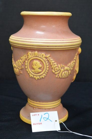Unmarked Footed 8 1/2 in. Tall, Two Tone Semi-Gloss Vase - Swag and Cameo P