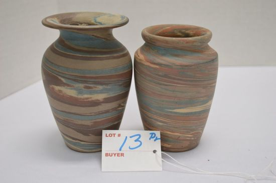 """Pair of Small Swirl Vases, Matte Finish, 1-4 3/4 High Paper """"Tag 'N Lock"""","""
