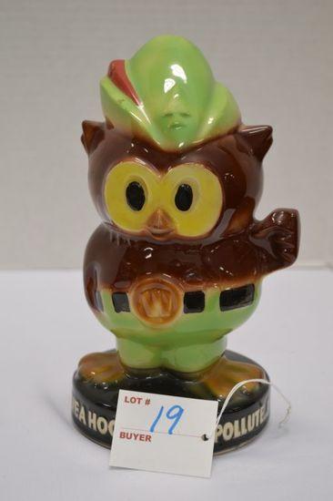 """Woodsy Owl Bank"", 8 in. High, Missing Plug, Impressed B Mark on Bottom, Gl"