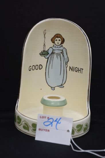 """Unmarked Candle Stick Holder w/ Handle, """"Goodnight w/ Child and Vine Patter"""
