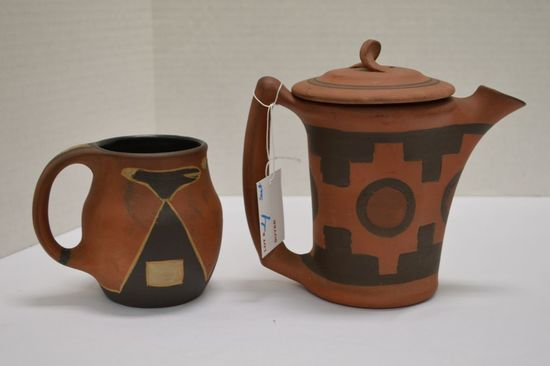 Clifton Art Pottery Pitcher w/ Lid 7 in. #274, Mug 4 in. #223 - Matte Finis