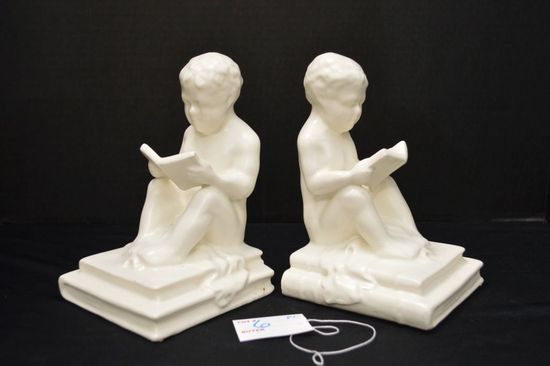 """Pair of Unmarked White Bookends, """"Children Reading"""", Semi-Gloss Finish, 8 x"""