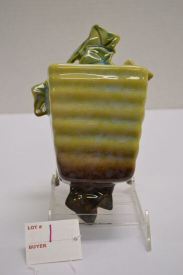 "Roseville USA  Wall Flower Pot w/ Ivy Leaf Pattern, #266-4"""