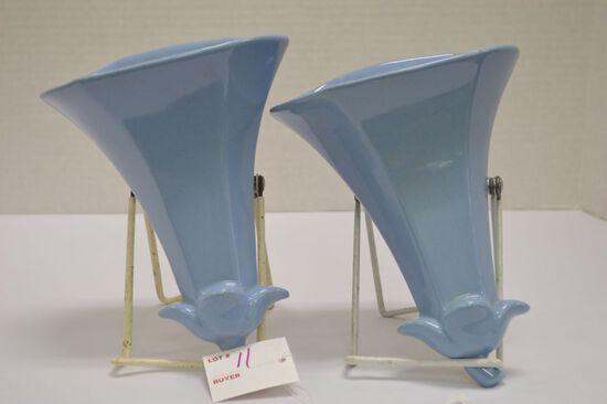 Pair of Asingdon Blue Trumpet Flower Wall Pockets, #377