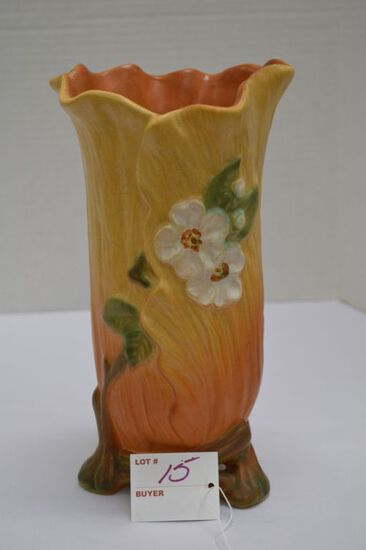 Weller Apple Blossom Footed Vase, 10 in.