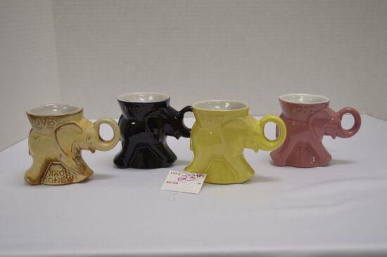 Set of 4 Frankoma D-215-868, Political Elephants: 1973 Nivon-Agneu, 1987, 1