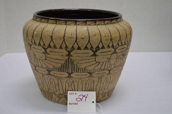 The Western Stone Ware Company, Etched Matte Art Vase, Finish Bloom? Glaze