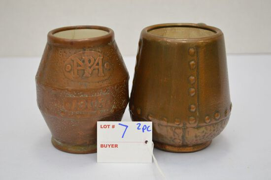 2 Piece Mug, Not Match, Berrel Has Inside Crack and Chip-Marked, Clewell Ca