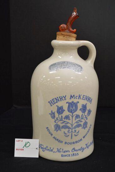 """Henry McKana"" Sour Mash Bourbon Whiskey Jug w/ Spicket, 12 in."