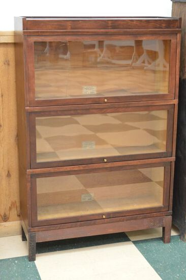 3 Shelf, Footed,  Barrister Book Case by Globe Werneke, Top Glass Cracked