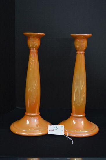 Pair of Weller Orange Luster Bud Vase/Candlestick w/ Paper Labels, 12 in.