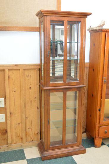 Narrow 6 Glass Shelf Display Cabinet, Lighted on top and bottom