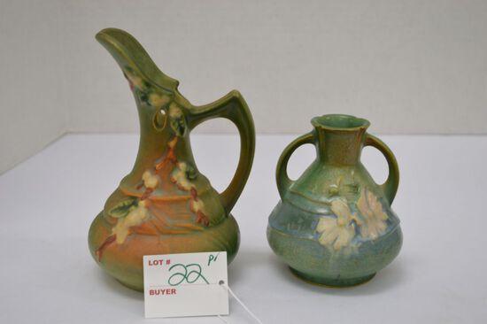 "Roseville #5 ITK 6"" Euer; Snowberry Roseville #9411-4"" Vase, Double Handle"