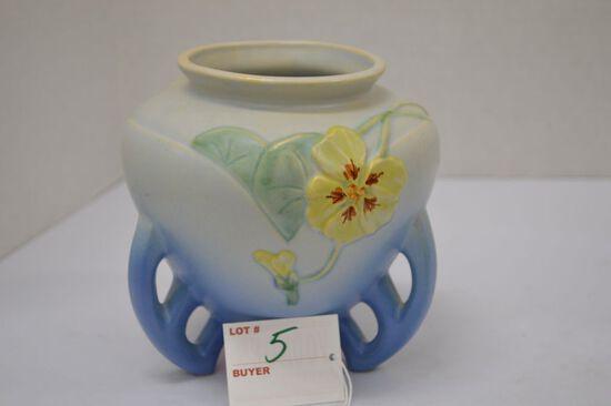 """Weller """"Futura"""" Art Flower Pot, 3 Loop Nastunsian Flower Design"""