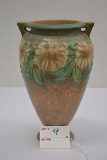 """Roseville """"Dahl Rose"""" Vase w/ Paper Label, 8 1/2 in."""
