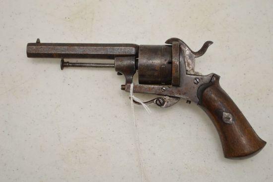 """Revolver, 3 1/2""""  Hexagon Barrel, 7 mm cal, Wood Grips, Folding Trigger, Pi"""