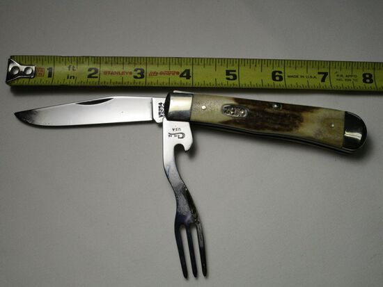 Case XX USA, V5254HBSS, Single Blade w/ Fork and Bottle Opener, Manmade Ant