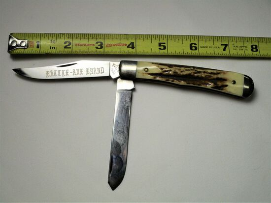 Battle-Axe Brand USA, Double Blade, Manmade Antler Handle