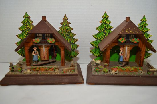 Pair of Chalet in the Woods Barometer/Thermometer w/ Man and Women,  - 50 D