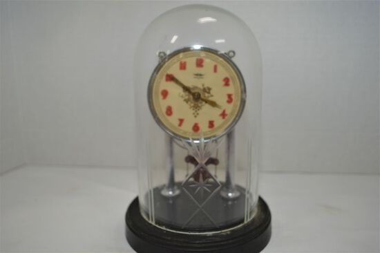 Made in Japan, Anniversary Type Clock w/ Cut Glass Cover and Monkey Pendulu
