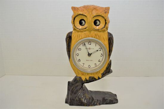 "Meiko Tokei Owl Clock w/ Motion Eyes, 8 1/2 "" Tall - Needs Weight"