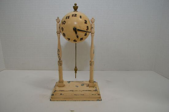 "Pot Metal Ball Clock, Painted White Keywind and Pendulum, by GCC, 10"" - Nee"
