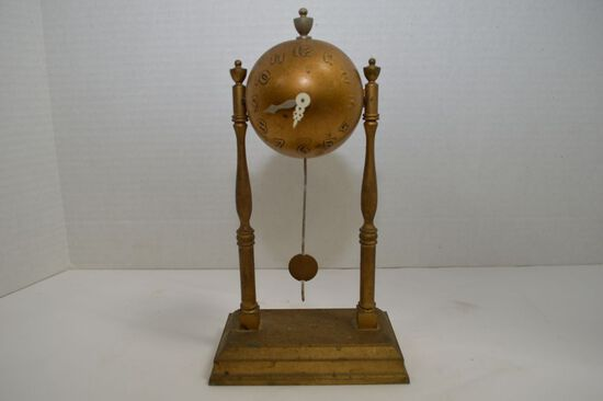 Pot Metal Gold Colored Bell Clock, Keywind and Pendulum by GCC, 10""