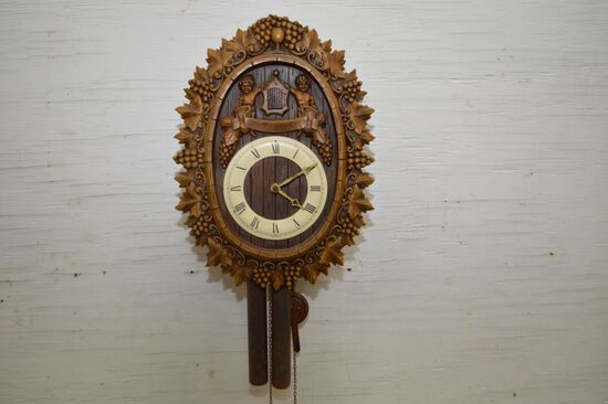 Oval Shape Wood Front Cuckoo Clock w/ Cherubs and Bird, Weights Made in W.