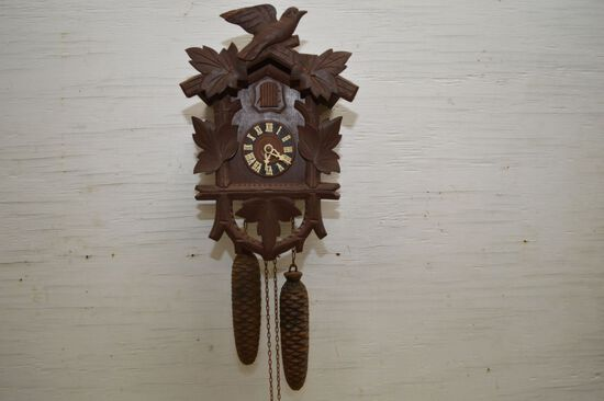 "German Made Cuckoo Clock w/ Bird, 2 Weights, 11"" -  No Pendulum"