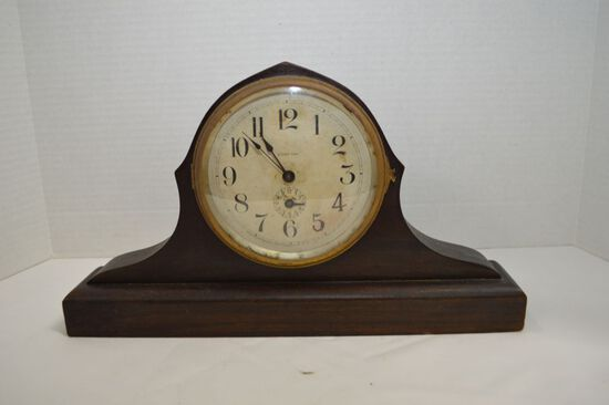 Narrow 8 Day Mantel Clock by Ingraham Co. Tin Face Wind on Back Side