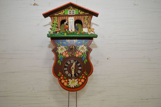 German Made Cuckoo Clock w/ Carousel Dancers and Thermometer, 11 x 6 1/2""