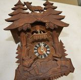 German Made Cuckoo Clock w/ Trees and Deer on Top and Hunter and Dog on Bot