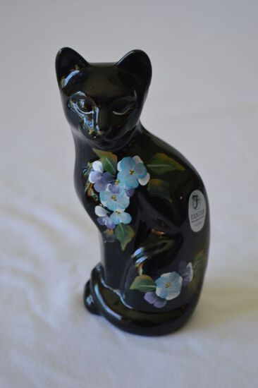 Black Fenton Cat Figurine Hand Painted and Signed