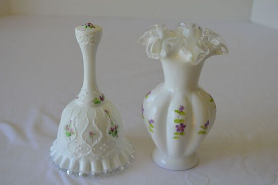 Fenton Milk Glass Ruffled Edge Vase Hand Painted and Signed with Milk Glass