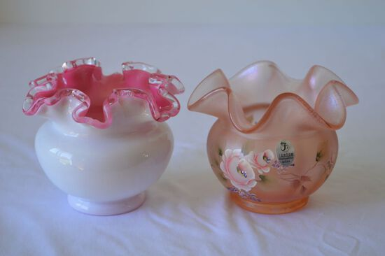 """Fenton Hand Painted and Signed 2003 Pink Luster """"Thomas K. Fenton"""" 4 ½ inch"""