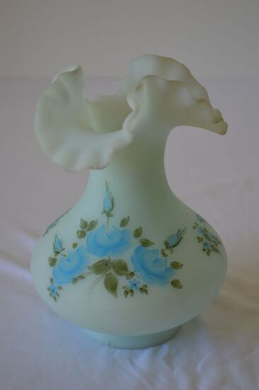 Fenton Blue Frosted Hand Painted and Signed 4 inch Vase