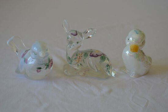 Group 3: Fenton Hand Painted and Signed Figurine Duck, Deer, and Bird