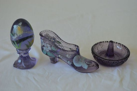Group of 3 Fenton: Hand Painted and Signed Purple Egg, Hand Painted and Sig