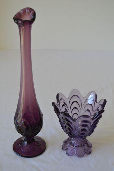 Amethyst Bud Vase and Amethyst Fenton Scalloped Edge Candy