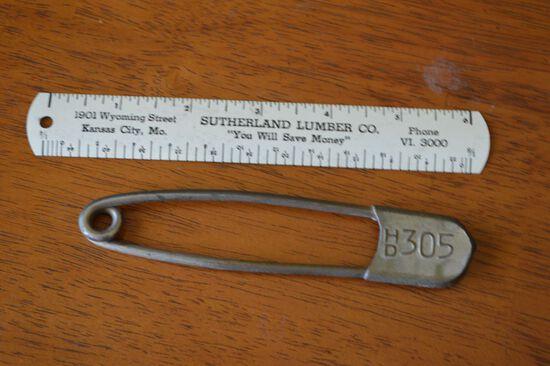 US Mail Bag Safety Pin, Sutherland Lumber Metal Ruler