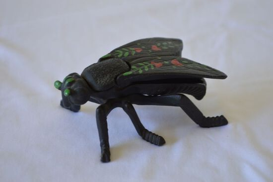 Cast Iron Fly Ashtray w/ Painted Wings