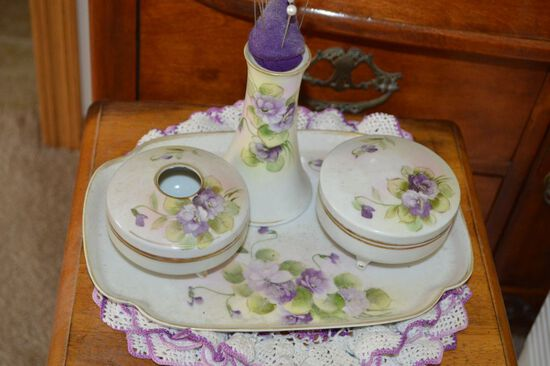 4 piece Hand Painted Nippon Dresser Set: Hair Receiver, Tray, Covered Trink