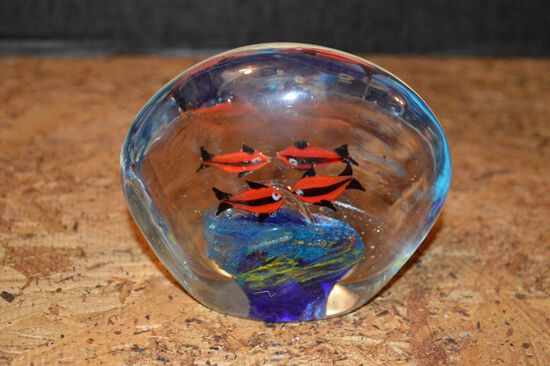 Glass Paper Weight w/ Fish