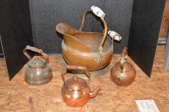 Copper Coal Hod and 3 Small Copper Tea Pots
