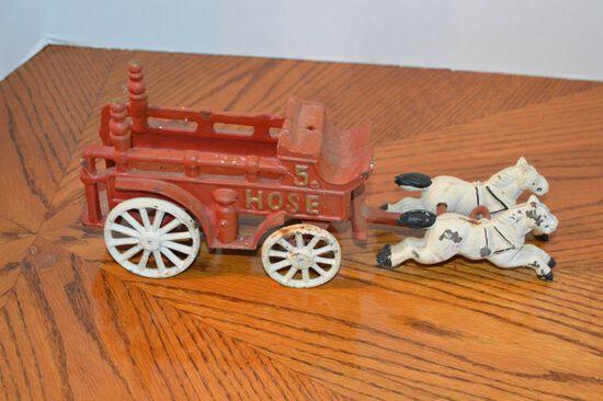 Cast Iron No.5 Hose Horse Drawn Toy Fire Carraige, Modern