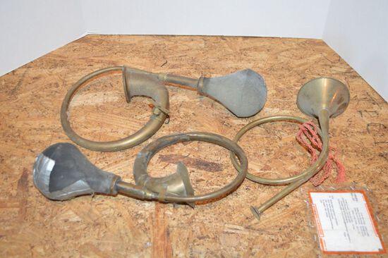 Group of 3 Brass Bulbus Car Horns - 1 missing ball