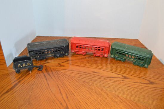 3 Cast Iron Train Cars, Modern